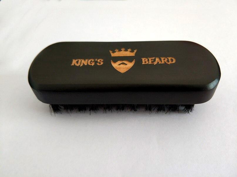 High-Grade Brush Men's Shaving  Boar Bristle Brush 4.7*1.8inch Natural Wood Black Beard Brush Customize Logo