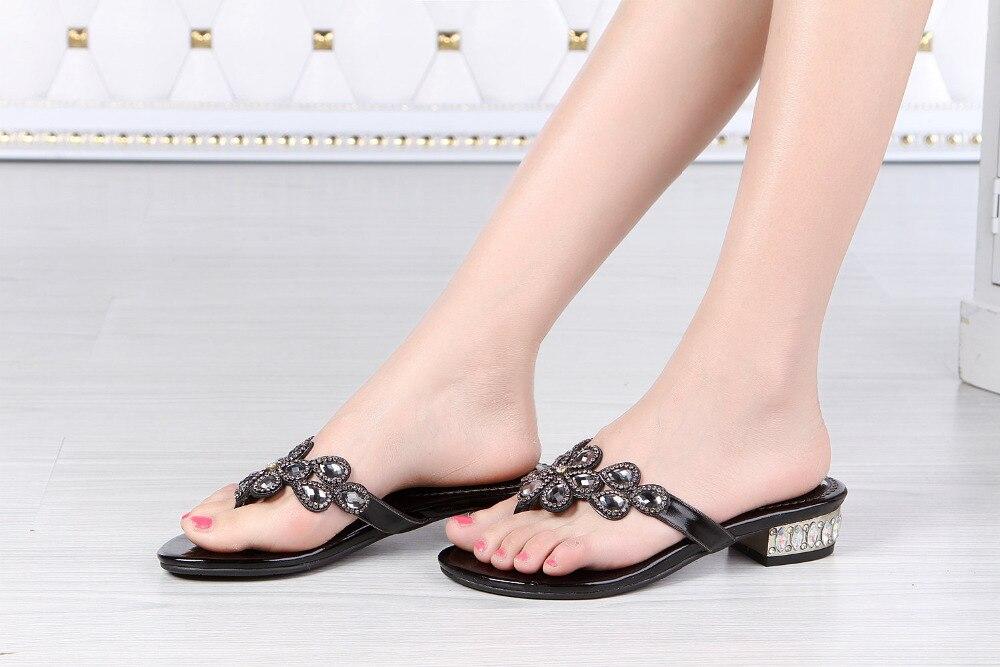 Nouvelles tongs en cristal d'été de haute qualité épaisses avec des chaussures à talons hauts bas chaussons pour femmes tongs en strass - 6