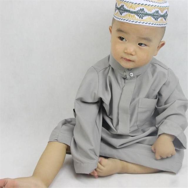 Boys Muslim Abaya Kids Kaftan Islamic Clothing Dubai Jubba Thobe Arab Eid  Mubarak Toddler 2-6 6-10 Years Old Traditional Robes 0f7a053f9a4e