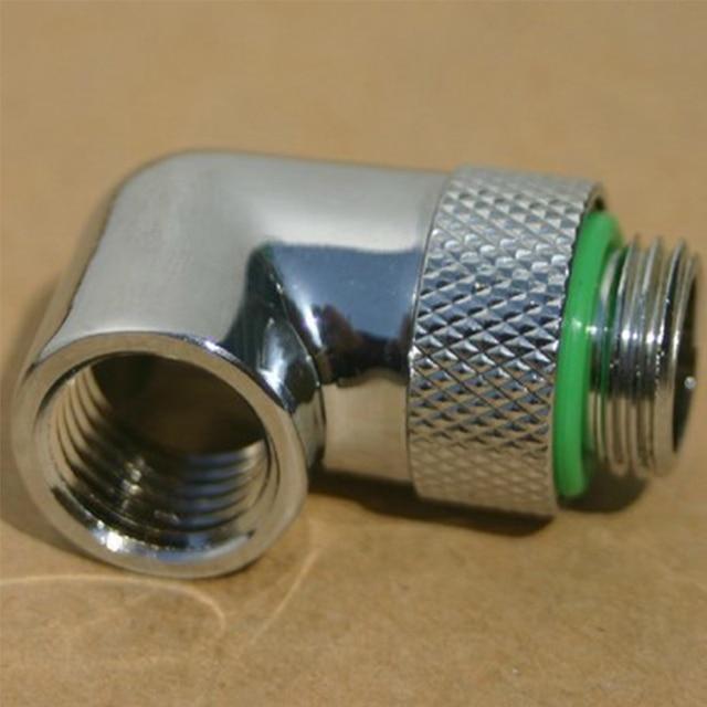 1PC G 1/4 90 องศาข้อศอกสำหรับคอมพิวเตอร์Cooling Coolerน้ำสามารถหมุนได้ 360 องศาหมุนอะแดปเตอร์