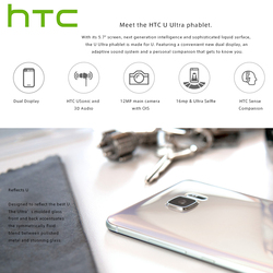 Brand New HTC U Ultra LTE 4G Mobile Phone 4GB RAM 64GB ROM Snapdragon 821 Quad Core 5.7 inch 16MP DualView Android Smartphone 4