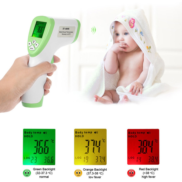 Body Surface Temperature Measurement Data Hold Function Digital LCD Non-contact IR Infrared Thermometer Forehead