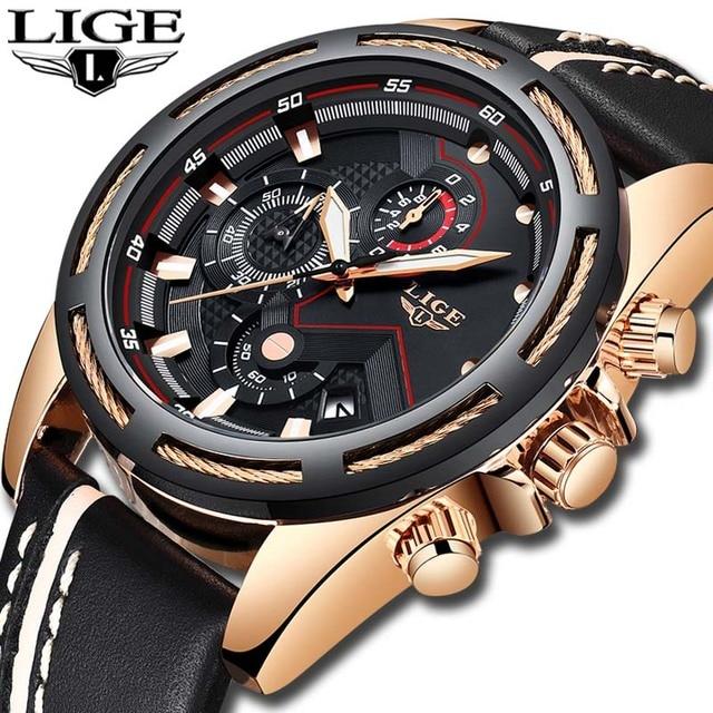 שעון גברים ליגע אופנה ספורט קוורץ שעון עור Mens שעונים למעלה מותג יוקרה זהב צבאי עמיד למים שעון Relogio Masculino