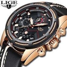 Reloj hombres LIGE reloj de cuarzo deportivo de moda de cuero para hombre relojes de marca superior de lujo de oro militar reloj impermeable