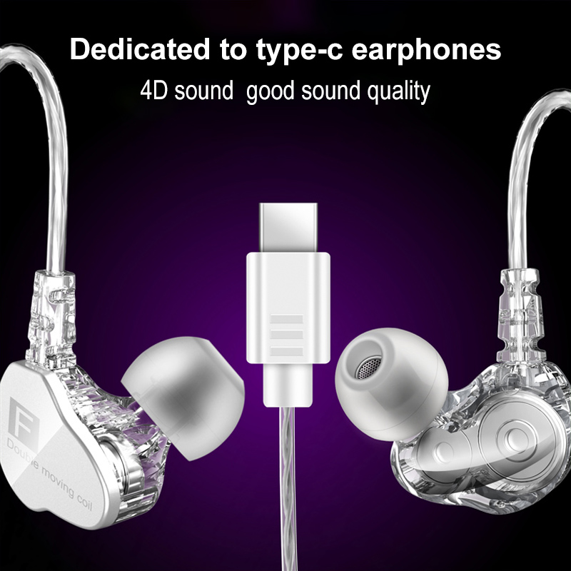 Newest Fenge F4 In Ear Earphone With Mic HIFI 4D Sound Quality Stereo Bass Sport Earphone Type C Headset For Huawei Xiaomi