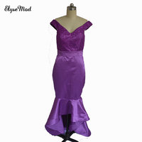Real Photo Lace V-Neck Cheap 2018 Mermaid Bridesmaid Dresses Off The ShoulderBackless Long Beach Wedding Party Gowns Purple