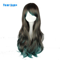 Senin Stil Uzun Dalgalı Japon Cosplay Peruk Ombre Gri Yeşil Gümüş Mavi Sentetik Yüksek Sıcaklık Elyaf