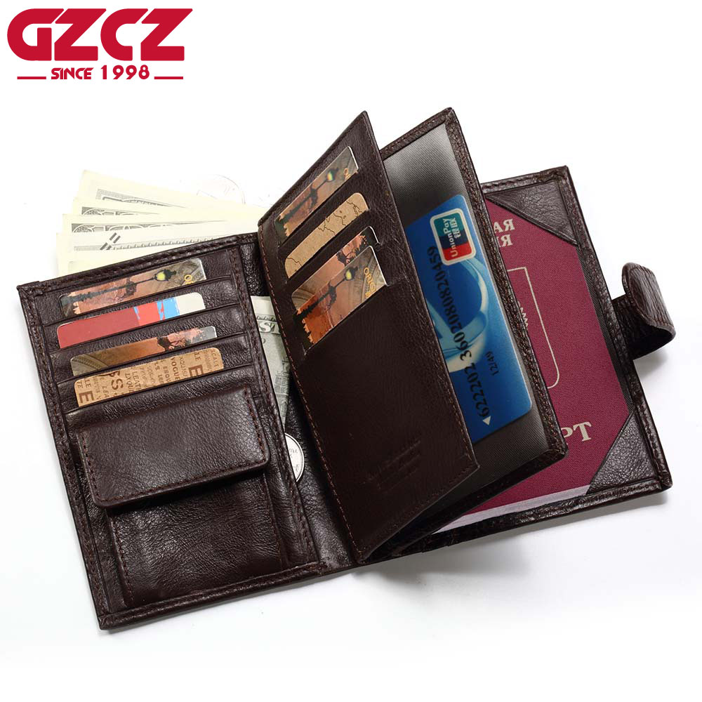 GZCZ Genuine Leather Wallet Men Passport Holder Coin Purse Walet Male Clutch PORTFOLIO MAN Portomonee Mini Vallet Passport Cover document for passport badge credit business card holder fashion men wallet male purse coin perse walet cuzdan vallet money bag