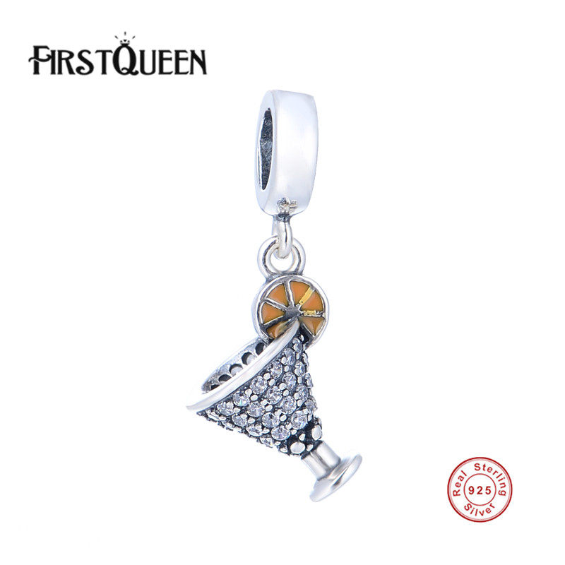 FirstQueen Real 925 Sterling Pure Silver Food Beverage Charm Bead Fit Original Bracelet DIY Authentic Fine Jewelry