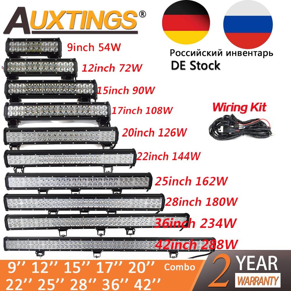 Auxtings 20 pouce 126 W 12 ''22'' 20 ''offroad led light bar 12 V 24 V Spot D'inondation led Travail Lumière pour Jeep Voiture 4WD Camion 4x4 SUV ATV