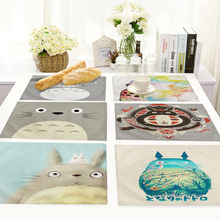 Yilin Cartoon Totoro Table Mats Nordic Home Placemat for Dining Linen Rectangle Kitchen Decoration Accessories
