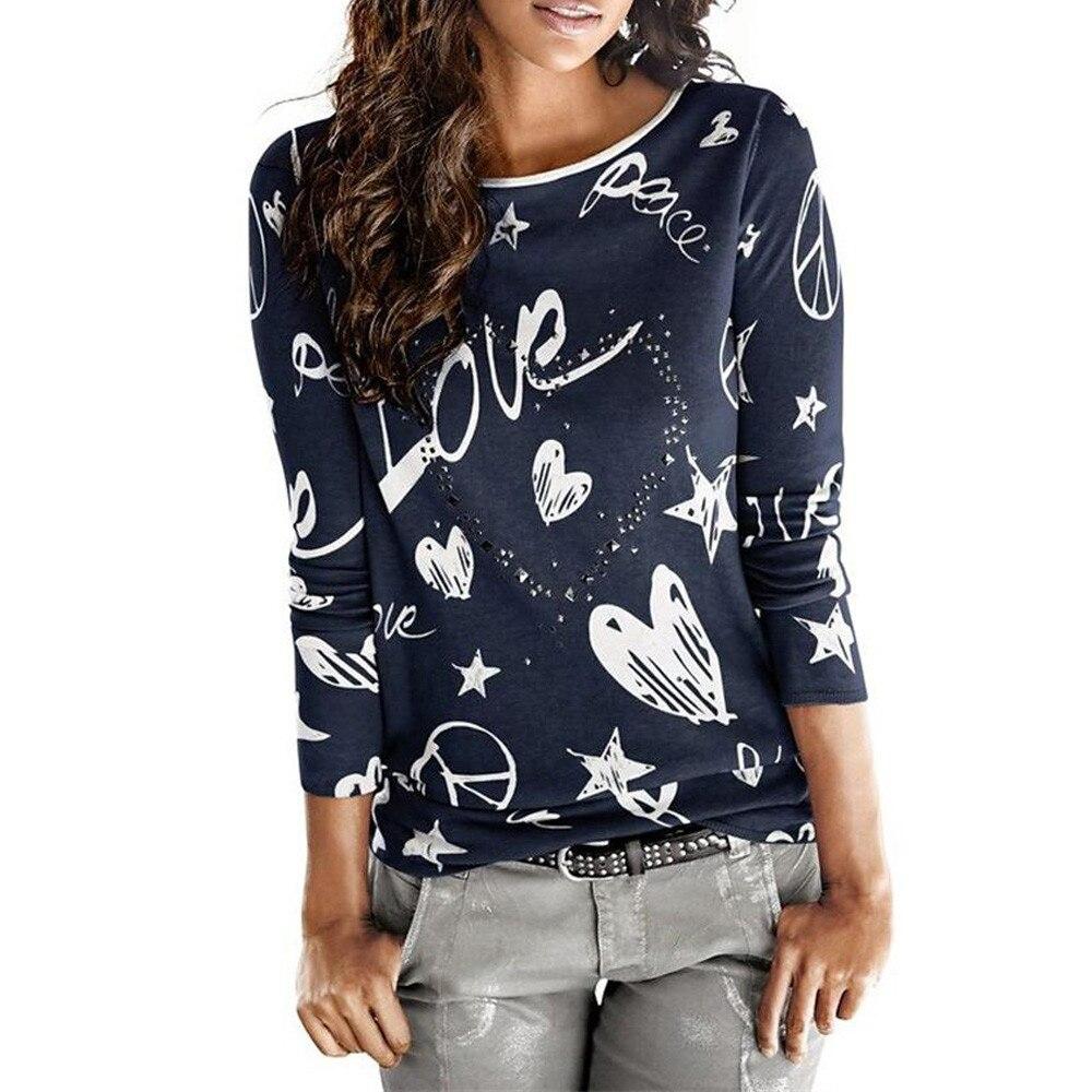 Camiseta estampada Vintage para mujer otoño Vogue amor corazón patrón Casual mezcla de algodón Tops señoras invierno camisetas # YL