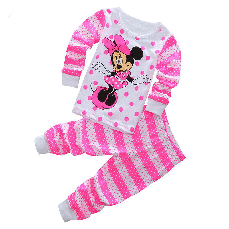 Girls Pajamas Autumn Winter Children clothing set Full Sleeve Girls Pyjamas Character Kitty Minnie Children Sleepwear  2T-7T cartoon character pijamas pyjamas kids pajamas for boys girls children clothing set sleepwear factory price 2015 newest cheap