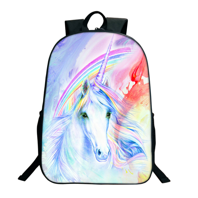 2018 Unicorn School Bags For Teenagers Crazy Horse Backpack Rainbow Pony Bag Children Animals School Bags Boys Backpacks Mochila 2018 children school bags for boys orthopedic waterproof backpacks spiderman book bag satchel knapsack mochila escolar