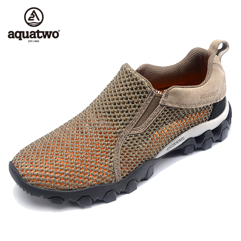 ФОТО Hot Sale 2016 AQUA TWO Outdoor Shoes Breathable Shoes Men Trekking Walking Slip On Mesh Shoes US5.5-13# Plus Size Summer Shoes