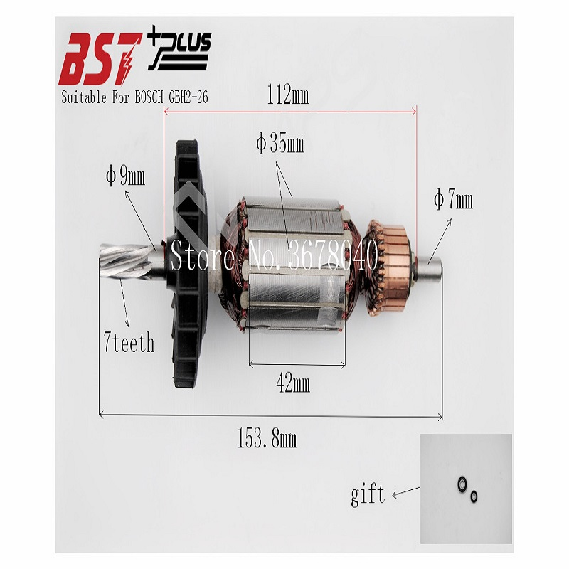 AC220V-240V ROTOR/ARMATURE SUITABLE FOR BOSCH GBH2-26 ROTARY HAMMER carbon brush plate holder for bosch gbh2 26dfr gsb16re gsb19 2re gsb19 2rea hd21 2 gbh2 23re 11250vsrd gbh2 24d gbh2 26f