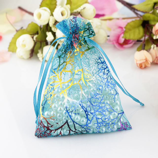 10pcs Lot Blue C Organza Bags 9x12cm Drawable Charms Candy Jewelry Packaging Pouches Small