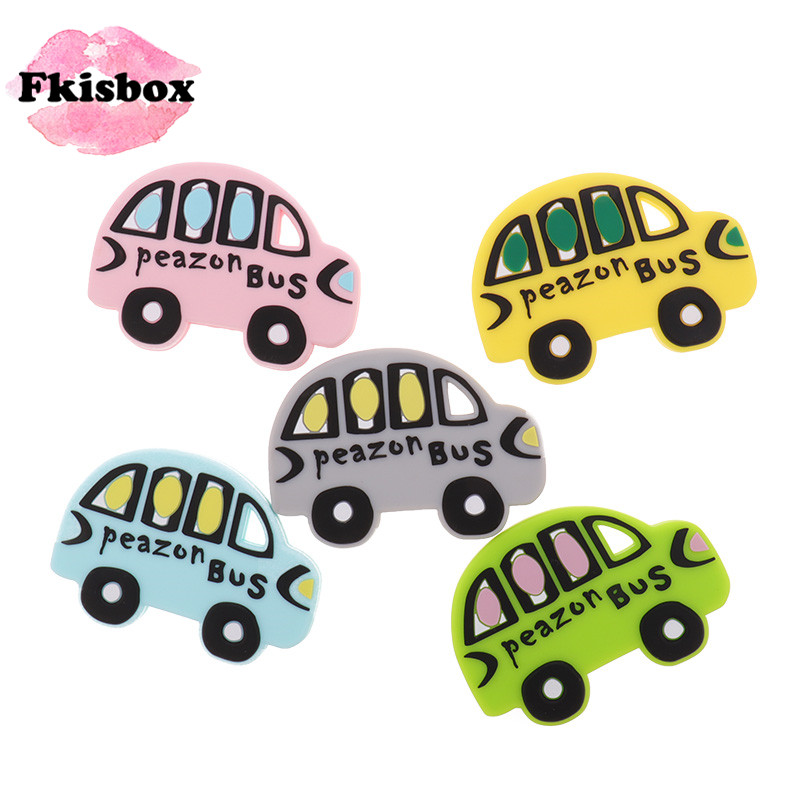 FKISBOX 10pcs Silicone Baby Teethers Silicon Bites Bpa Free Bus Baby Teething Accessories Toys For Children Personalized Gifts