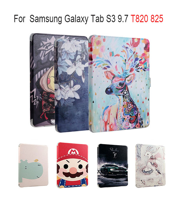 Colorful Painting PU Leather case For Samsung Galaxy Tab S3 9.7 T820 825 SM-T820 smart Cover Tablet Funda AUTO Sleep/Wake up armor kickstand case funda for samsung galaxy tab s3 9 7 sm t820 sm 825 case cover tablet safe shockproof heavy duty stand shell