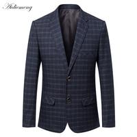 Повседневное Блейзер Для мужчин 2018 весенние мужские костюмы, блейзеры две кнопки сетки Для мужчин Блейзер Куртка Для мужчин пиджак пальто в