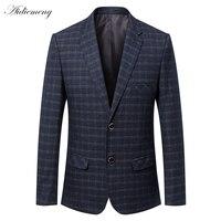 Casual Blazer Men 2018 Spring Mens Suits Blazer Two Button Grid Men Slim Blazer Jacket men Suit Jacket Coats Checked Blazer H506