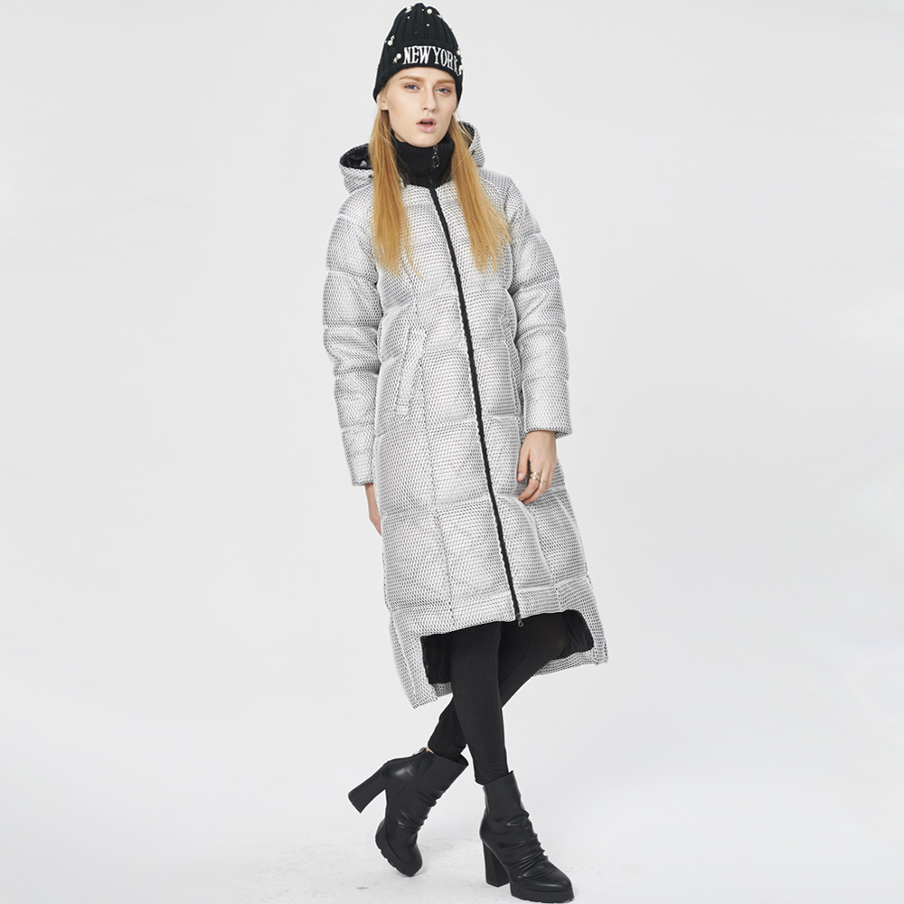 Winter Plus size 90% real duck   down   thicker warm   coat   Fashion female plaid design longer warm fashion brand   down     coat   wj1583