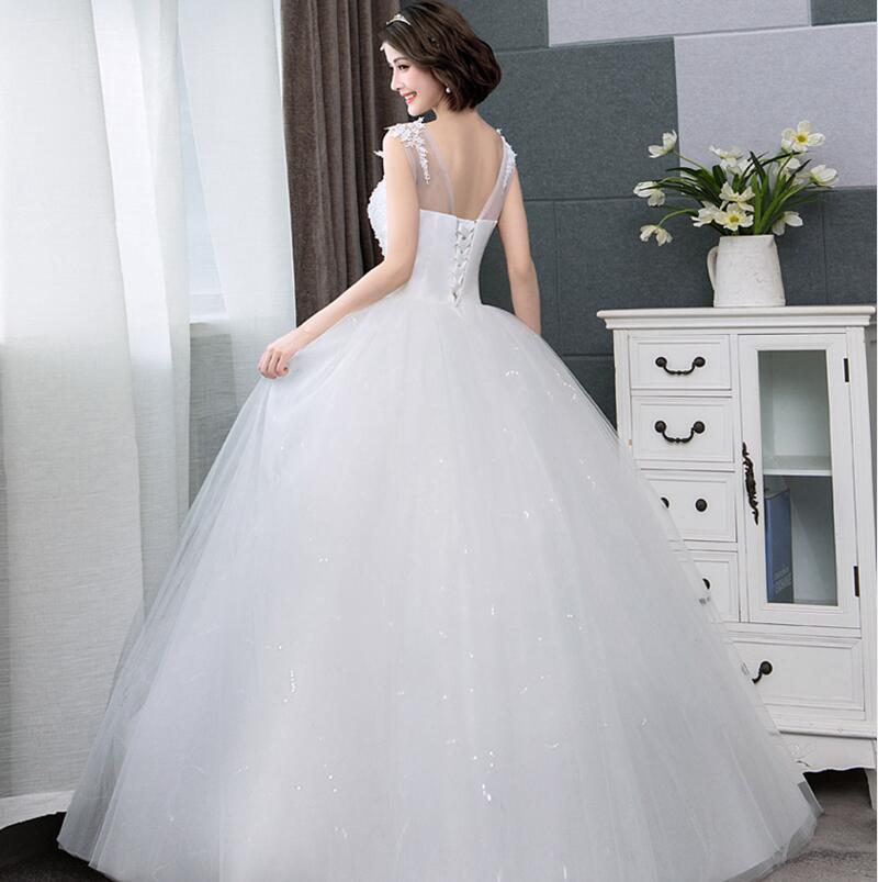 910ad7d9553 LAMYA Applique Boat Neck Lace Abiye A-Line Bridal Gowns Lace Princess Wedding  Dress Elegant 2018 Organza Gelinlik