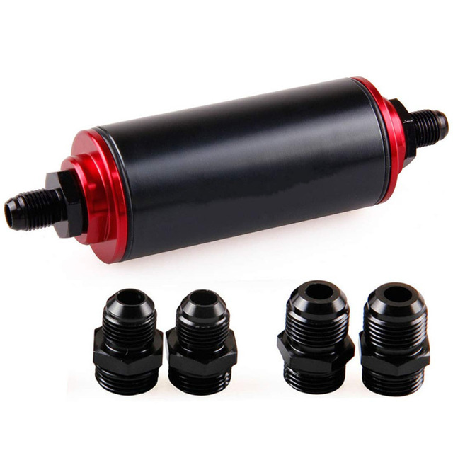 50mm Red Filter 100 Micron Cleanable Inline Fuel Filter Mount Universal High Flow Turbo 6AN 8AN 10AN Adapter