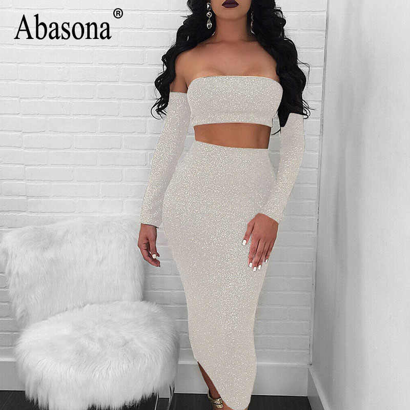 58fb6e6f807e9f ... Abasona Women Sparkle Dress Sexy Off Shoulder Two Piece Dress Set  Backless Lace Up Bandage Party ...