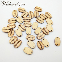 WISHMETYOU 50pc Handmade Natural Wooden Buttons Diy Sewing Accessories 2 Holes Letters Button Crafts Clothes Finding