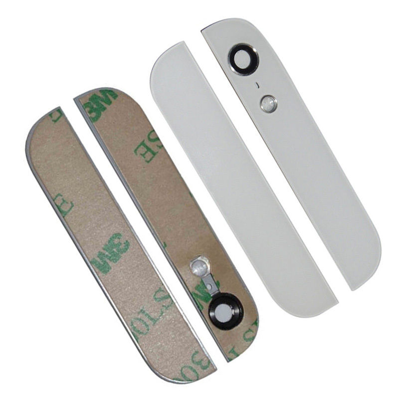 Back Rear Top Bottom Glass Lens Cover with Camera Flash Lens For iPhone 5S 5 5G Se with 3M Adhesive
