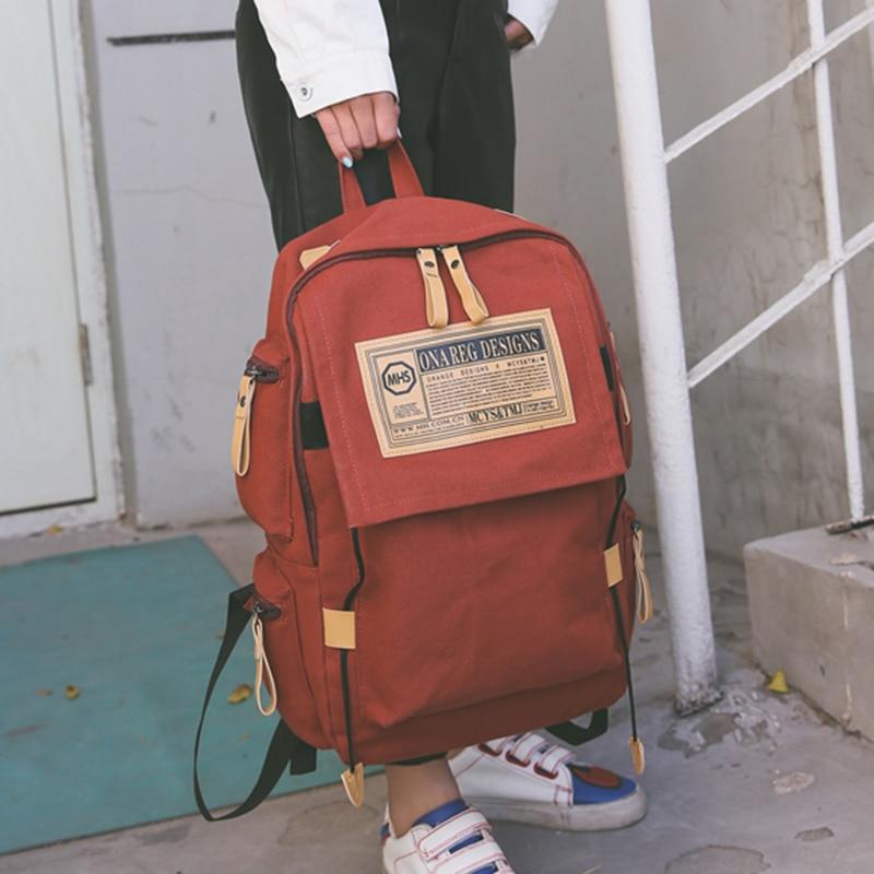 Canvas Korean shoulder bag male backpack computer bag college wind college schoolbag female leisure large capacity travel bag oxford bag korean version of the female students shoulder bag large capacity backpack canvas backpacks