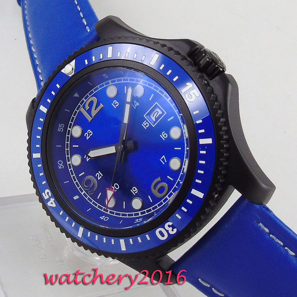 NEW 44mm BLue Sterile Dial PVD Coated Rotating Ceramic Bezel Fashion mens Watch Date window Automatic Movement mens Watch NEW 44mm BLue Sterile Dial PVD Coated Rotating Ceramic Bezel Fashion mens Watch Date window Automatic Movement mens Watch