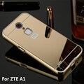Para casos zte blade a1 metal bumper case de alumínio do chapeamento de ouro quadro + Espelho Acrílico de Volta Caso Capa Para O ZTE Um 1 ZTEa1