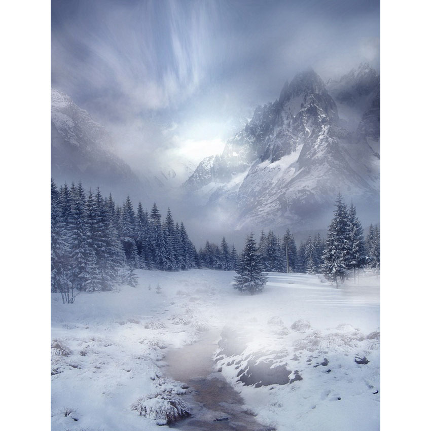 Vinyl photography backdrops Snow ice forest & snow mountain view background photography for Photo Studio S-2460 kidniu scenery photography backdrops trees lake photo props wallpaper winter snow vinyl background for studio 9x5ft win1403