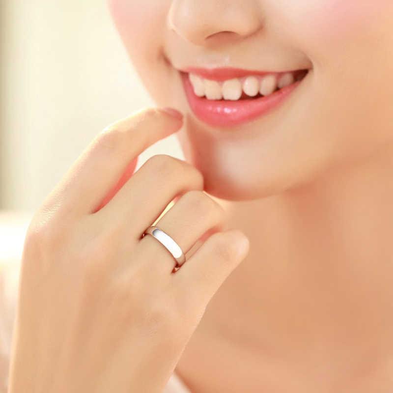 1PCS טבעת 925 זוג טבעת כסף תכשיטים אופנתיים פשוט חלק אוהבי חתונה סט 925 כסף סטרלינג טבעות לנשים גברים תכשיטים