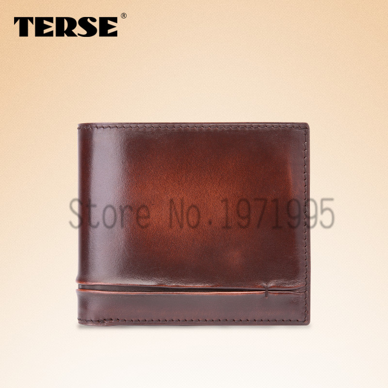 TERSE_Bifold wallet classical short men wallet with card holder slim fashion purse customize logo handmade genuine leather