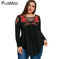 PlusMiss Plus Size 5XL Sexy Embroidery Fishnet Insert Babydoll Tunic Top Cold Shoulder Embroidered Blouse Shirt