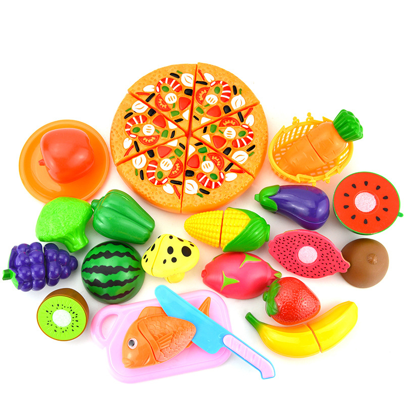 24PC DIY Toy Pretend Play Plastic Food Pizza Set Cooking Cutting Fruit Children Kid Educational Toys For Children Kids Girls