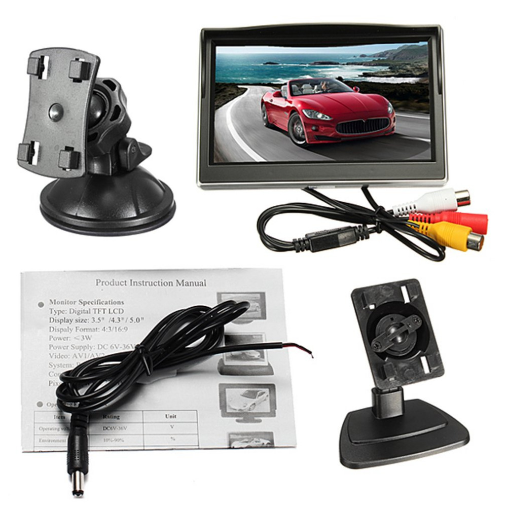 5 Inch Car Auto Display Rear View Backup Monitor TFT LCD HD Digital 5:3 800*480 Screen Reverse Mirror Monitor купить в Москве 2019