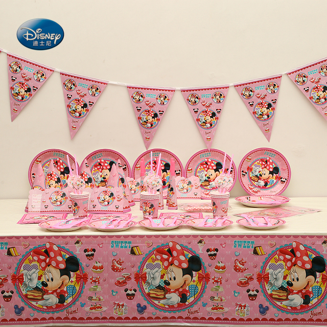 Wholesale 95pcs disney party supplies tableware set minnie mouse wholesale 95pcs disney party supplies tableware set minnie mouse theme kids birthday party decoration wedding decoration junglespirit Images