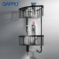 GAPPO BLACK wall mounted bathroom shelves Stainless Steel bath shower accessories bathroom shelf shower holder storage holder
