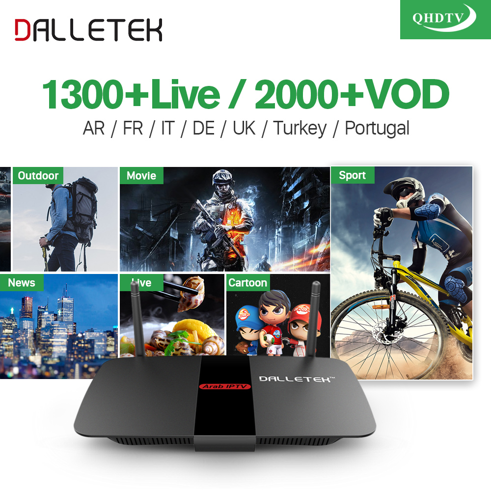 Dalletektv 4K Smart TV Box Android 6.0 IPTV 1 Year QHDTV Code Subscription Abonnement IPTV Italia Europe Spain Arabic IPTV Box рейлинг угловой 90° esprado platinos