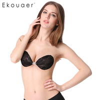 Ekouaer Lady S Sexy Lnvisible Bra Lace Surface Silicone Adhesive Strapless Push Up Backless Bra Cup