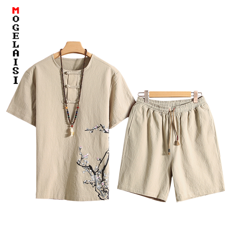 Plus Size 4XL Linen Men Shorts Sets Chinese Style New Summer Embroidery Tracksuits T-shirt+Shorts 2 Piece Sets A037-M008