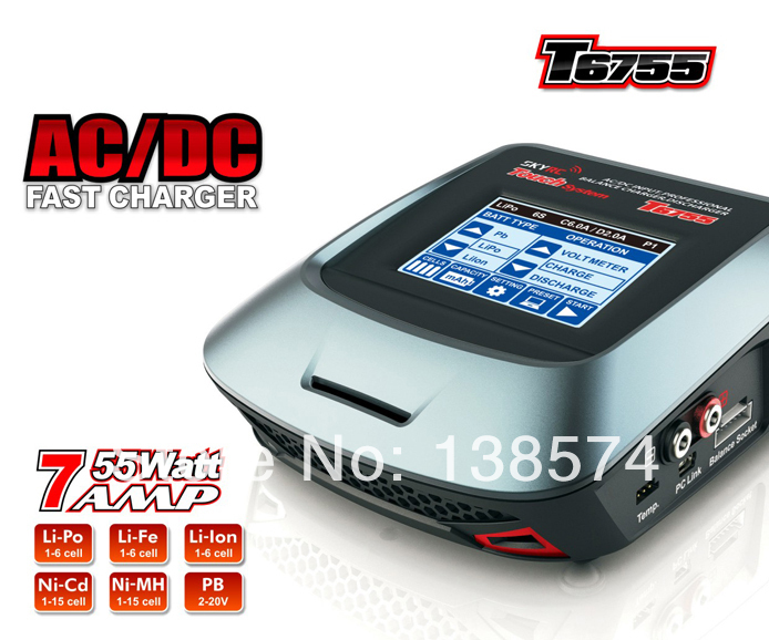 SKYRC T6755 AC/DC Professional Balance Charger/Discharger 2A/5W with Touch Screen skyrc sk 800084 01 b6 mini 6a 60w dc11 18v professional balance charger discharger w t 2 6lcd