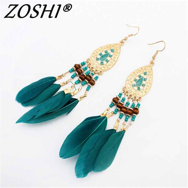 2019 Long Tassel Fashion Feather Style Ethnic Boho Big Dangle Statement Earring Wedding Drop Earrings For Women Accessories