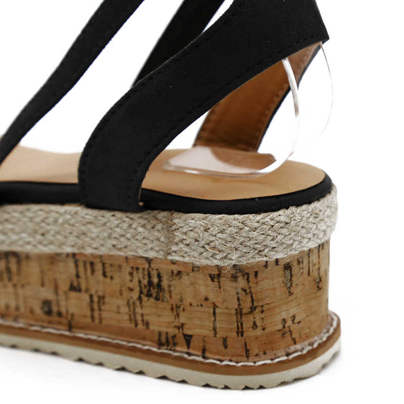 8e2e07b3ff8 Summer White Wedge Espadrilles Women Sandals Open Toe Gladiator Sandals  Women Casual Lace Up Women Platform Sandals