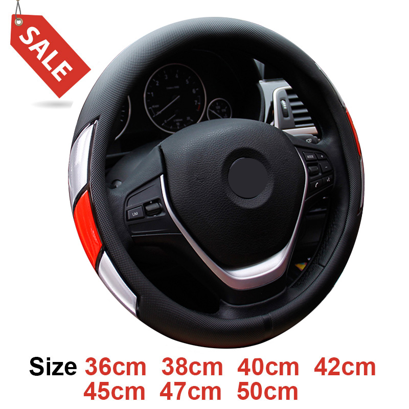 large size pu leather car steering wheel cover plus wheel hubs fit for different cars 36 38 40. Black Bedroom Furniture Sets. Home Design Ideas