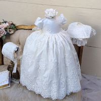 White/ivory lovely infant christening dresses for baby boy girls short sleeves baptism gowns with bonnet